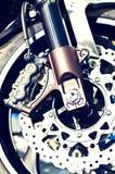 Motorradrad- und -plattebremsen Stockbild