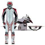 Motorradreiter und schwebender flacher Ikonensatz des Motorradvektors Stockfotos