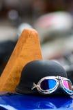 Motorradschutzbrillen Stockfoto