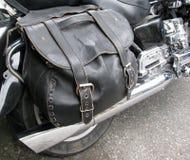 Motorradseitentasche Stockfotografie