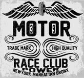 Motorradtypographie Newyork Manhattan Bronx, T-Shirt Grafiken, Stockfotos
