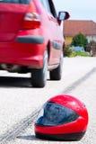 Motorradunfall. Verkehrsunfall Stockfotos