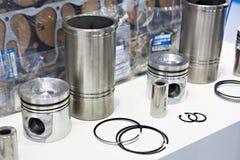 Motorreservdelar: pistonger, cirklar och cylindereyeliner Royaltyfri Fotografi