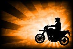 Motorrijder op de abstracte achtergrond Stock Afbeelding