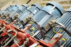 Motors. Electric motors on hydraulic power pack frame Stock Images