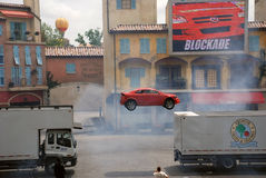 "Motors Extreme Stunt show. Called ""Lights, Motors, Action!"" in Hollywood studio, Orlando ,Florida. The show runs for about 40 minutes of car-based action Stock Photos"