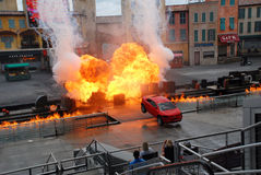 """Motors Extreme Stunt show. Called """"Lights, Motors, Action!"""" in Hollywood studio, Orlando ,Florida. The show runs for about 40 minutes of car-based action Royalty Free Stock Photo"""