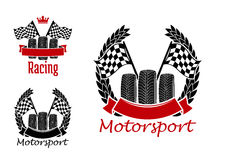 Motorsport competition icons with wheels and flags Stock Photo