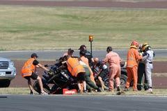 Motorsport, desplome de alta velocidad Fotografía de archivo