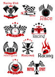 Motorsport heraldic icons and symbols. Motorsport icons and symbols with racing cars, motorcycle, trophy cups, flags and pistons, speedometer, tires, stopwatch Stock Photo