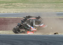 Motorsport, high speed crash Royalty Free Stock Photo
