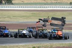 Motorsport, hoge snelheidsneerstorting Royalty-vrije Stock Afbeeldingen