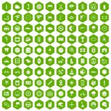 100 motorsport icons hexagon green. 100 motorsport icons set in green hexagon isolated vector illustration stock illustration
