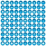 100 motorsport icons set blue. 100 motorsport icons set in blue circle isolated on white vector illustration Stock Illustration