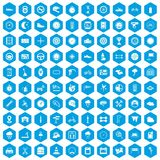 100 motorsport icons set blue. 100 motorsport icons set in blue hexagon isolated vector illustration Stock Image