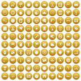 100 motorsport icons set gold. 100 motorsport icons set in gold circle isolated on white vector illustration Stock Photography