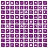 100 motorsport icons set grunge purple. 100 motorsport icons set in grunge style purple color isolated on white background vector illustration Vector Illustration