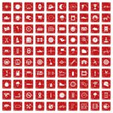 100 motorsport icons set grunge red. 100 motorsport icons set in grunge style red color isolated on white background vector illustration Stock Images