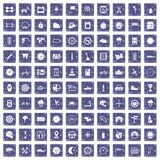 100 motorsport icons set grunge sapphire. 100 motorsport icons set in grunge style sapphire color isolated on white background vector illustration Royalty Free Stock Photo