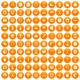 100 motorsport icons set orange. 100 motorsport icons set in orange circle isolated on white vector illustration Royalty Free Stock Photography