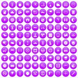 100 motorsport icons set purple. 100 motorsport icons set in purple circle isolated on white vector illustration Royalty Free Stock Images