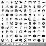 100 motorsport icons set, simple style. 100 motorsport icons set in simple style for any design vector illustration royalty free illustration