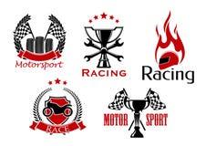 Motorsport, motorcykel och auto symboler för springa Royaltyfri Bild