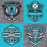 Motorsport que compite con gráficos de la camiseta del emblema stock de ilustración