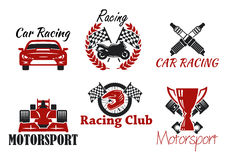 Motorsport and racing sport icons Royalty Free Stock Photography