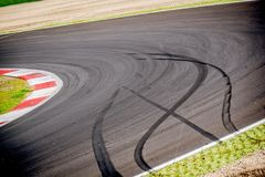 Motorsport racing track and car slammed brakes sign Stock Photography