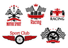 Motorsport symbols for auto racing design. Winged wheel, tires with racing flags and motorcycle, open wheel race car and spark plug with crossed spanners and Stock Illustration