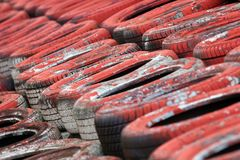 Motorsport Tyre Wall Stock Image