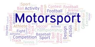 Motorsport word cloud. Made with text only stock illustration