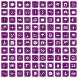 100 motorsportpictogrammen geplaatst grunge purple Stock Fotografie