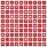 100 motorsportpictogrammen geplaatst grunge rood Stock Afbeeldingen