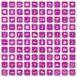 100 motorsportpictogrammen geplaatst grunge roze Royalty-vrije Stock Afbeeldingen