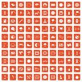 100 motorsportpictogrammen geplaatst grunge sinaasappel Stock Afbeelding