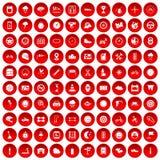 100 motorsportpictogrammen geplaatst rood Royalty-vrije Stock Fotografie