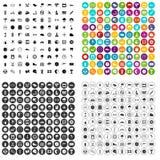 100 motorsportpictogrammen geplaatst vectorvariant Royalty-vrije Stock Foto's