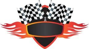 Motorsports火焰和旗子商标盾 库存例证