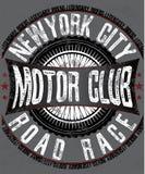 Motorsports logo, trójnik, drelich, bydło i moda graficzny projekt, royalty ilustracja