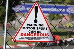 Motorsports Warning Sign Royalty Free Stock Photography