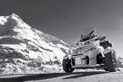 Motorsports in winter. The Can Am Spyder in winter Royalty Free Stock Photography