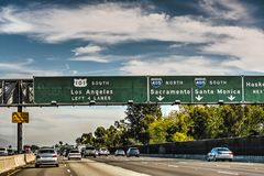 motorväg 101 i Los Angeles Arkivfoto