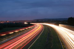 Motorway. A long exposure of the M5 motorway at night Stock Images