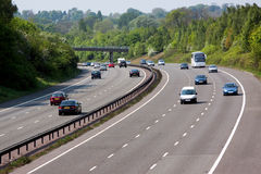 Motorway. With light traffic going through the countryside stock photo