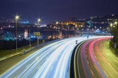 Motorway. Steles of cars at night on motorways Royalty Free Stock Photography