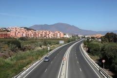 Motorway A7 nära Manilva, Spanien Arkivbilder