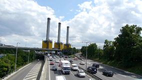 Motorway in Berlin city stock footage