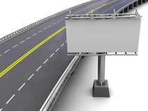 Motorway with billboard. Motorway with empty billboard in perspective, 3d Stock Images